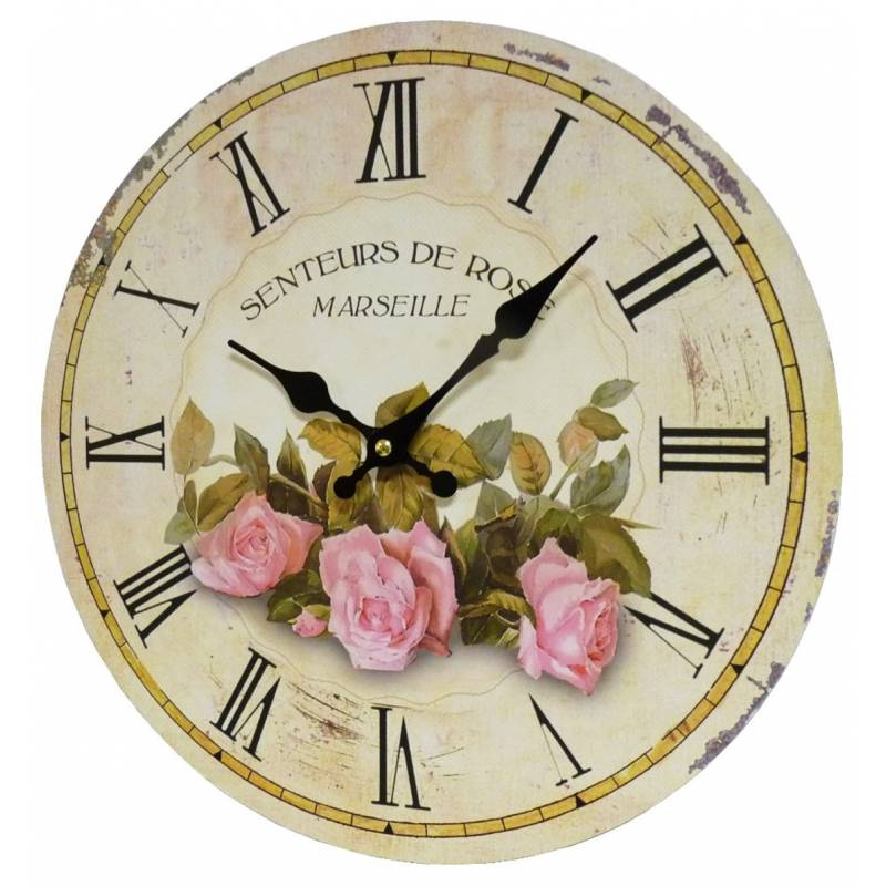 Horloge murale pendule ronde de cuisine ou salon en bois et papier senteurs de rose marseille - Pendule de cuisine ...
