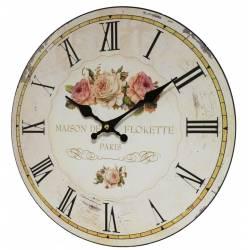 Horloge Murale Pendule Ronde de Cuisine ou Salon en Bois et Papier Maison de Florette Paris 4x34x34cm