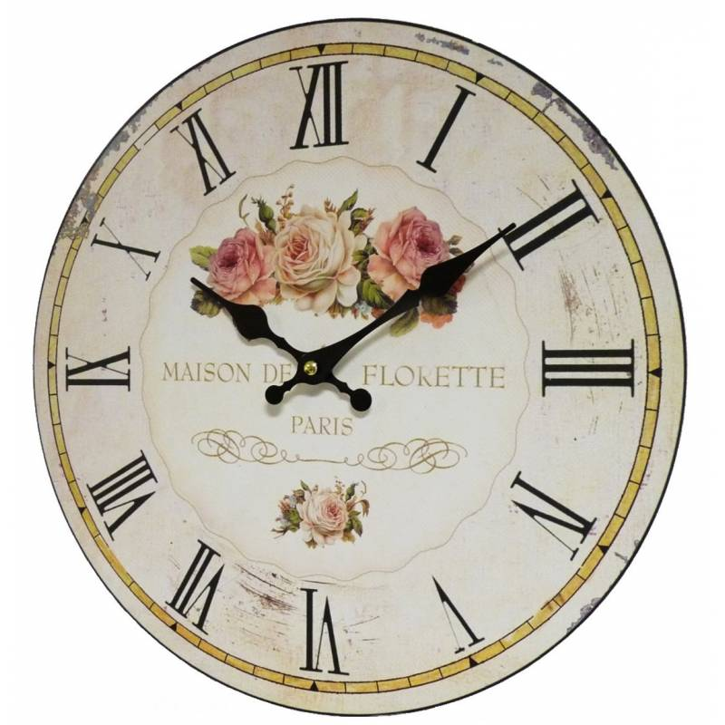horloge murale pendule ronde de cuisine ou salon en bois et papier maison de florette paris. Black Bedroom Furniture Sets. Home Design Ideas
