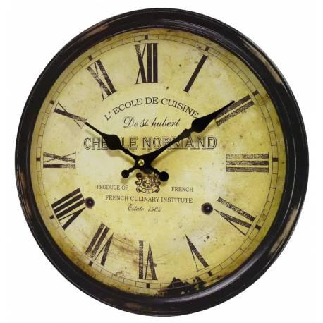 Horloge Murale Pendule Ronde de Cuisine ou Salon en Bois et Papier Chef Le Normand 4x34x34cm