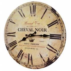 Horloge Murale Pendule Ronde de Cuisine ou Salon en Bois et Papier Cheval Noir 4x34x34cm