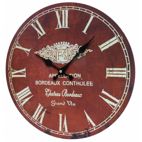 Horloge Murale Pendule Ronde de Cuisine ou Salon en Bois et Papier Appellation Bordeaux Controlée 4x34x34cm