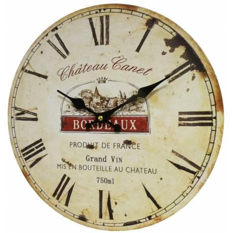Horloge Murale Pendule Ronde de Cuisine ou Salon en Bois et Papier Chateau Canet Bordeaux 4x34x34cm