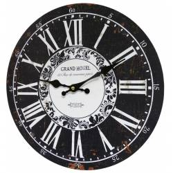 Horloge Murale en Bois Noir Ø34cm