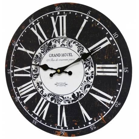 Horloge Murale Pendule Ronde de Cuisine ou Salon en Bois et Papier Grand Hotel 4x34x34cm