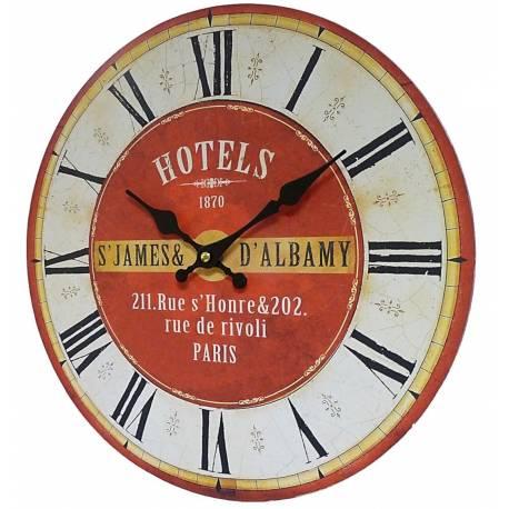 Horloge Murale Pendule Ronde de Cuisine ou Salon en Bois et Papier Hotels St James 4x34x34cm
