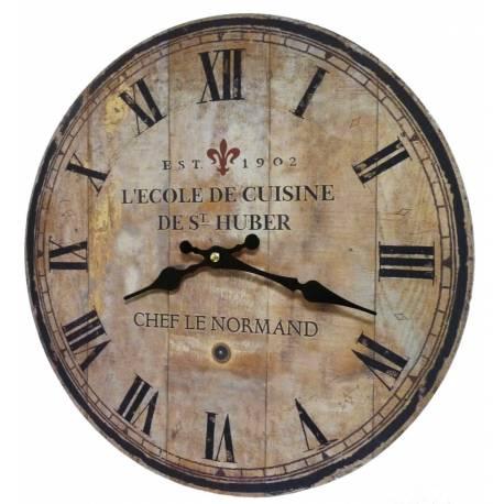 Horloge Murale Pendule Ronde de Cuisine ou Salon en Bois et Papier Ecole De Cuisine St Huber 4x34x34cm