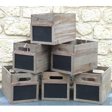 Lot de 6 Caisses Casiers à Bouteilles Cagettes à Légumes Cageots de Rangement en Bois avec Ardoise 20x20x30cm