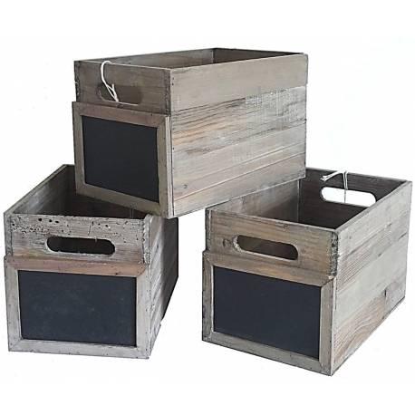 Lot de 3 Caisses Casiers à Bouteilles Cagettes à Légumes Cageots de Rangement en Bois avec Ardoise 20x20x30cm
