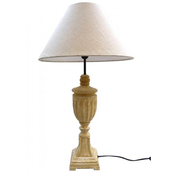 Lampe de Chevet Luminaire de Salon en Bois sur Pied Travaillé avec Abat Jour en Lin 40x40x67cm