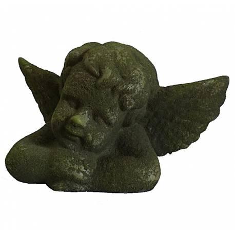Statuette de Chérubin Angelot ou Décoration d'Intérieur Style Ange en Terre Cuite Verte 15x16x27,5cm