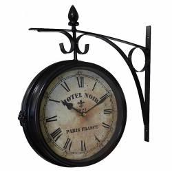 Horloge de Gare Pendule Murale Double Face sur Crédence Hotel Noir Paris France 10x40x42cm