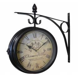 Horloge de Gare Pendule Murale Double Face sur Crédence Chateau Renier 10x40x42cm