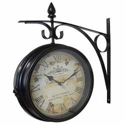 Horloge de Gare Pendule Murale Double Face sur Crédence Cabernet Sauvignon 10x40x42cm
