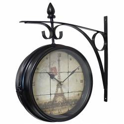 Horloge de Gare Pendule Murale Double Face sur Crédence Tour Eiffel Paris 10x40x42cm