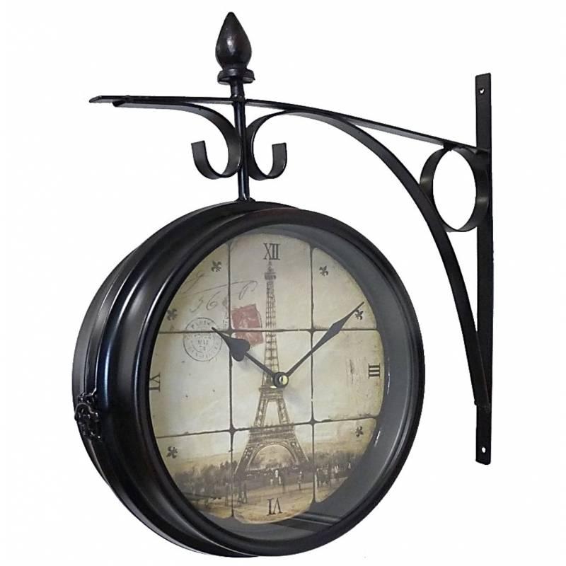 Horloge de gare pendule murale double face sur cr dence - Horloge de gare murale ...