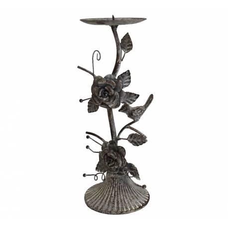 Bougeoir Unique de Table ou Candélabre Décoratif Motifs Floraux en Fer & Fonte Patiné Gris 10,5x10,5x30cm
