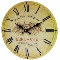 Horloge Murale Pendule Ronde de Cuisine ou Salon en Bois et Papier Chateau Delafont Bordeaux 4x34x34cm