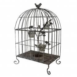 Cage à Oiseaux ou Volière Décorative Bougeoir 3 Verrines en Fer Patiné Gris 21x33x52cm
