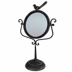 Miroir à Poser de Type Psyché sur Pied en Fonte Grise Motif Oiseau Glace de Coiffeuse 27x45cm