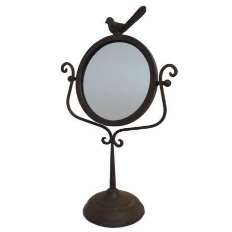 Miroir à Poser de Type Psyché sur Pied en Fonte Marron Motif Oiseau Glace de Coiffeuse 27x45cm