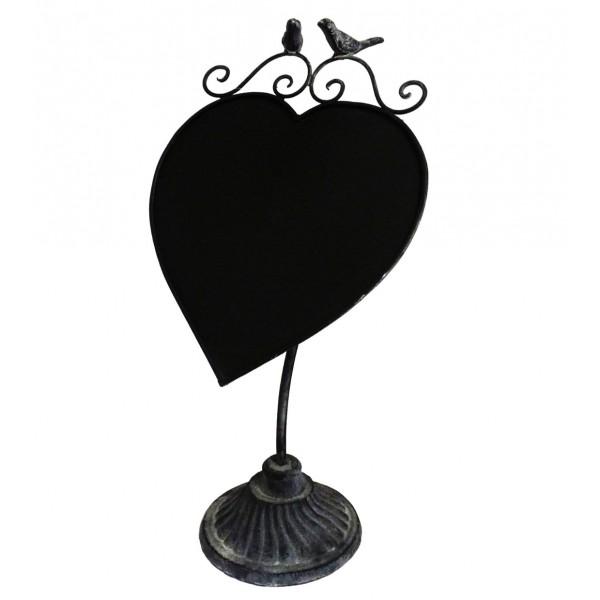 Ardoise Lavable à Poser Forme Coeur Enseigne de Porte Message de Bienvenue Menu du Jour en Fer Patiné Gris 1x14x42,5cm