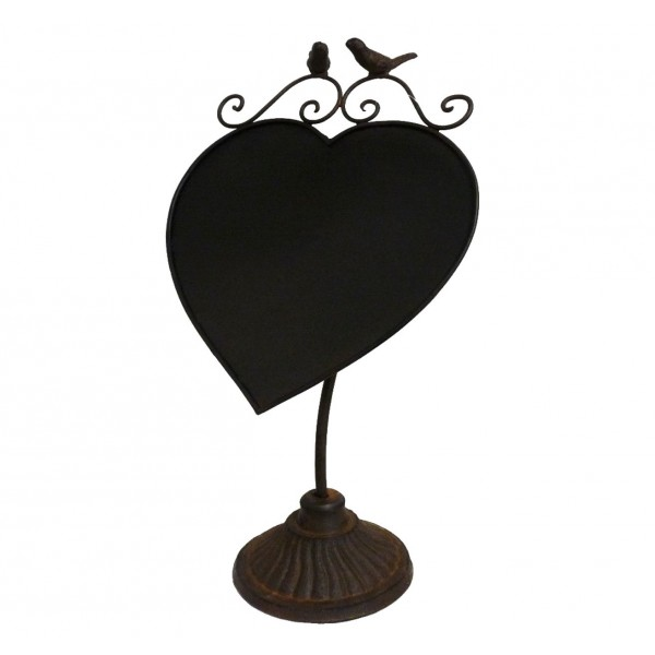 Ardoise Lavable à Poser Forme Coeur Enseigne de Porte Message de Bienvenue Menu du Jour en Fer Patiné Marron 1x14x42,5cm