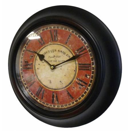 Horloge Murale en Fer avec Vitre en Plexiglass Pendule de Cuisine Biscuits Sablés Noir 4x32x32cm