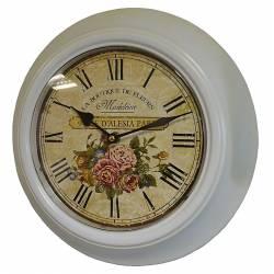 Horloge Murale en Fer avec Vitre en Plexiglass Pendule de Cuisine La Boutique De Fleurs Madeleine Blanc 32x32cm