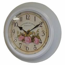 Horloge Murale en Fer avec Vitre en Plexiglass Pendule de Cuisine Senteurs De Rose Blanc 4x32x32cm