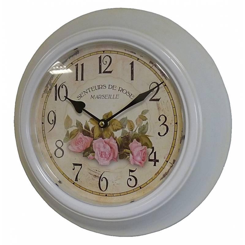Horloge murale en fer avec vitre en plexiglass pendule de cuisine senteurs de rose blanc - Cuisine avec vitre ...