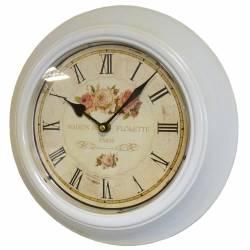 Horloge Murale en Fer avec Vitre en Plexiglass Pendule de Cuisine Maison De Florette Blanc 4x32x32cm