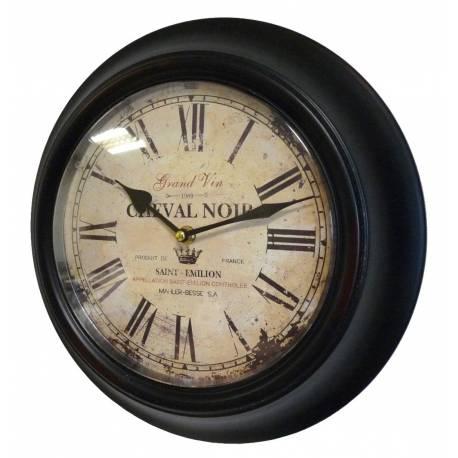 Horloge Murale en Fer avec Vitre en Plexiglass Pendule de Cuisine Cheval Noir 4x32x32cm