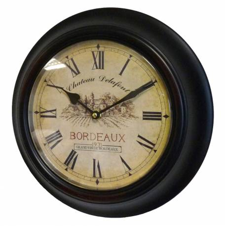 horloge murale en fer avec vitre en plexiglass pendule de cuisine chateau delafont bordeaux noir. Black Bedroom Furniture Sets. Home Design Ideas