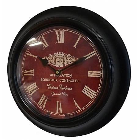 Horloge Murale en Fer avec Vitre en Plexiglass Pendule de Cuisine Chateau Bordeaux Noir 4x32x32cm