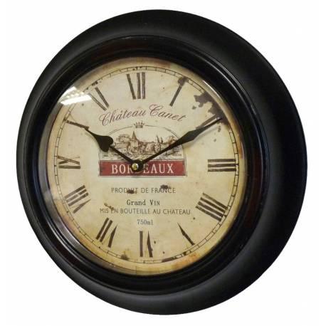 Horloge Murale en Fer avec Vitre en Plexiglass Pendule de Cuisine Chateau Canet Bordeaux Noir 4x32x32cm