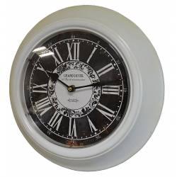 Horloge Murale en Fer avec Vitre en Plexiglass Pendule de Cuisine Grand Hotel Blanc 4x32x32cm