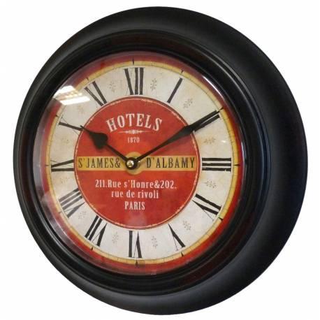 Horloge Murale en Fer avec Vitre en Plexiglass Pendule de Cuisine Hotels St James Noir 4x32x32cm