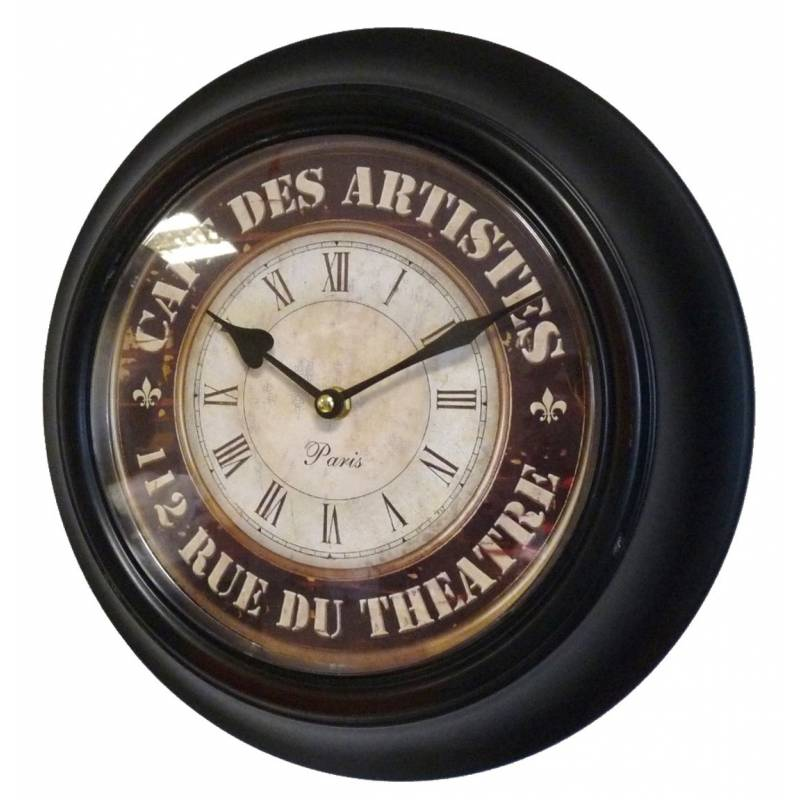 horloge murale en fer avec vitre en plexiglass pendule de cuisine caf des artistes noir. Black Bedroom Furniture Sets. Home Design Ideas