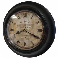 Horloge Murale en Fer avec Vitre en Plexiglass Pendule de Cuisine Ecole De Cuisine St Huber Noir 4x32x32cm