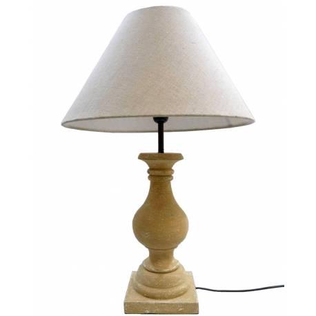Lampe de Chevet Luminaire de Salon en Bois sur Pied Tourné avec Abat Jour en Lin 40x40x58cm