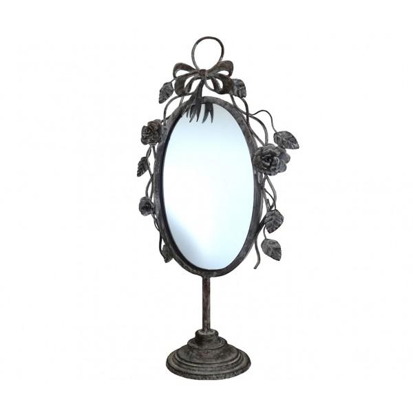 Miroir de Charme sur Pied Glace Ovale Travaillée de Salle de Bain ou Chambre En fer et Fonte Gris 14x31x65cm