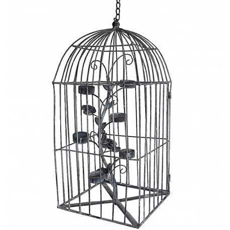 Applique Murale Bougeoir 6 Verrines ou Candélabre 6 Bougies à Suspendre Style Cage à Oiseaux en Fer Patiné Gris 23x23x77cm