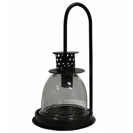Lanterne Photophore Décorative à Poser ou Lampe Tempête Bougeoir en Fer et Verre Patiné Marron 10,5x10,5x21,5cm