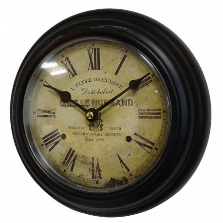 Horloge Murale en Fer Noir avec Vitre en Plexiglass Pendule de Cuisine Chef Le Normand 4x21x21cm