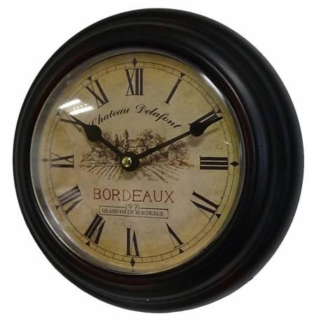 Horloge Murale en Fer Noir avec Vitre en Plexiglass Pendule de Cuisine Chateau Delafont Bordeaux 4x21x21cm