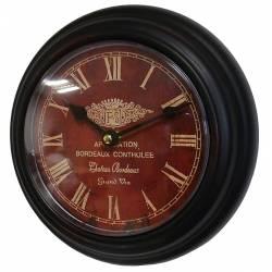 Horloge Murale en Fer Noir avec Vitre en Plexiglass Pendule de Cuisine Bordeaux 4x21x21cm