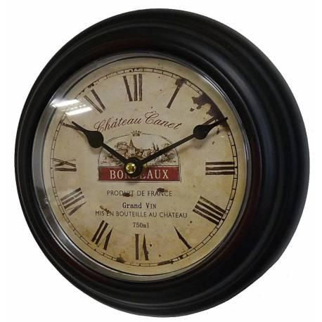 Horloge Murale en Fer Noir avec Vitre en Plexiglass Pendule de Cuisine Chateau Canet Bordeaux 4x21x21cm