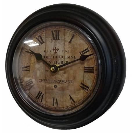 Horloge murale en fer avec vitre en plexiglass pendule de cuisine ecole de cuisine chef le - Cuisine avec vitre ...