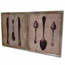 Set de 2 Tableaux Cadres Muraux Motifs Ustensiles de Cuisine et Vieilles Inscriptions Imprimés sur Toile 2x25x30 cm